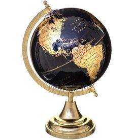 Feeric kerst- wereldbol zwart goud hoogte 33 cm