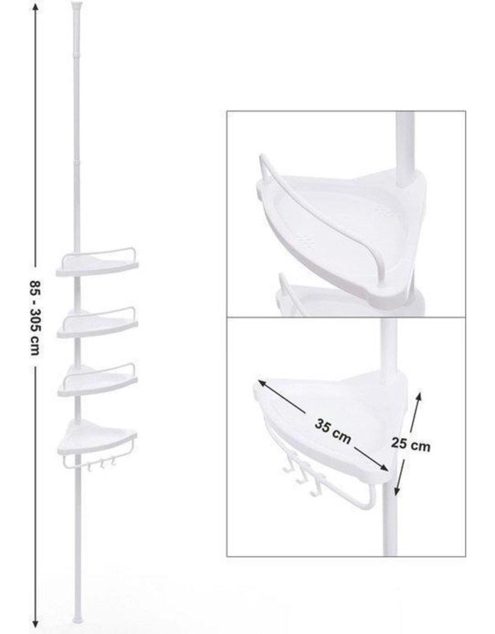 Parya Home Parya Home - Praktisch Douche Rek met 4 Schappen voor de Badkamer - Aanpasbaar qua Lengte - Wit