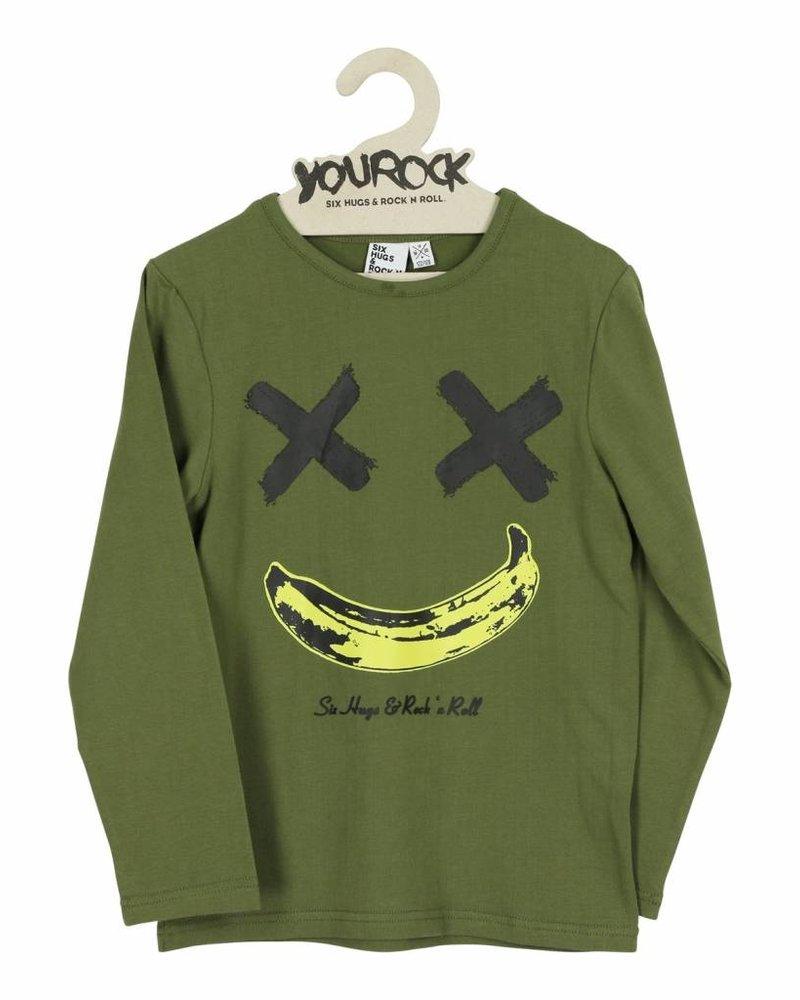 Six Hugs & Rock 'n Roll T-Shirt | Happy Banana | Kaki