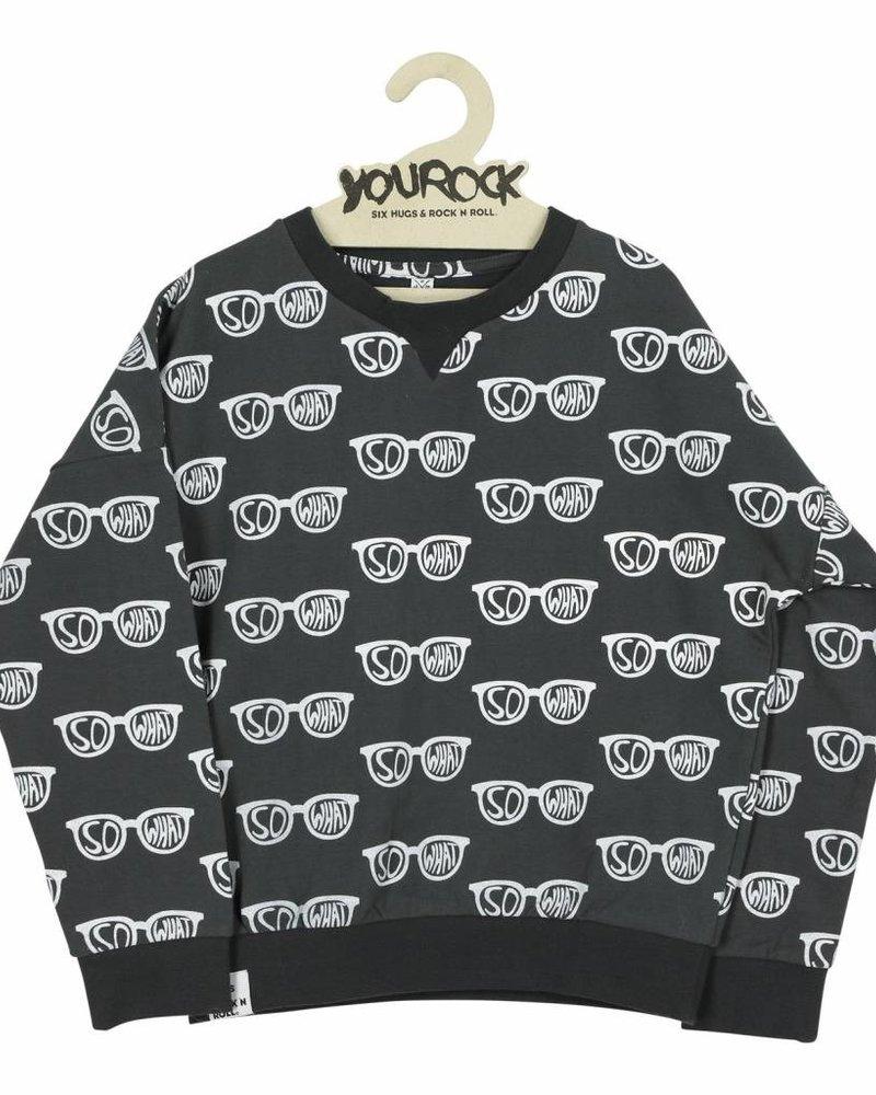Six Hugs & Rock 'n Roll Sweater   So What   Donkergrijs