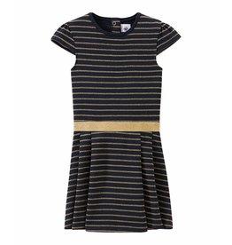 Petit Bateau Feestelijke jurk met gouden streepjes