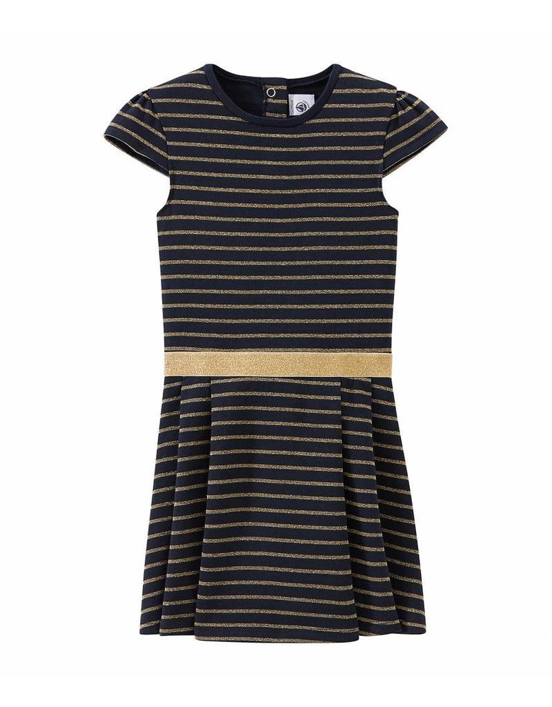 b7ffc020010cb8 Petit Bateau Feestelijke jurk met gouden streepjes ...