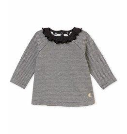 0946141252bace Petit Bateau Milleraies longsleeve met kraagje voor babymeisjes
