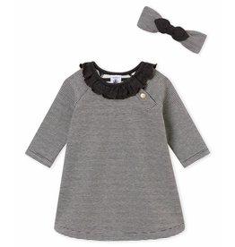Petit Bateau Jurk voor babymeisjes met haarband