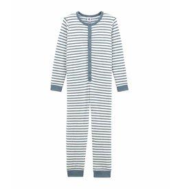 Petit Bateau Gestreepte onesie pyjama in bouclé badstof