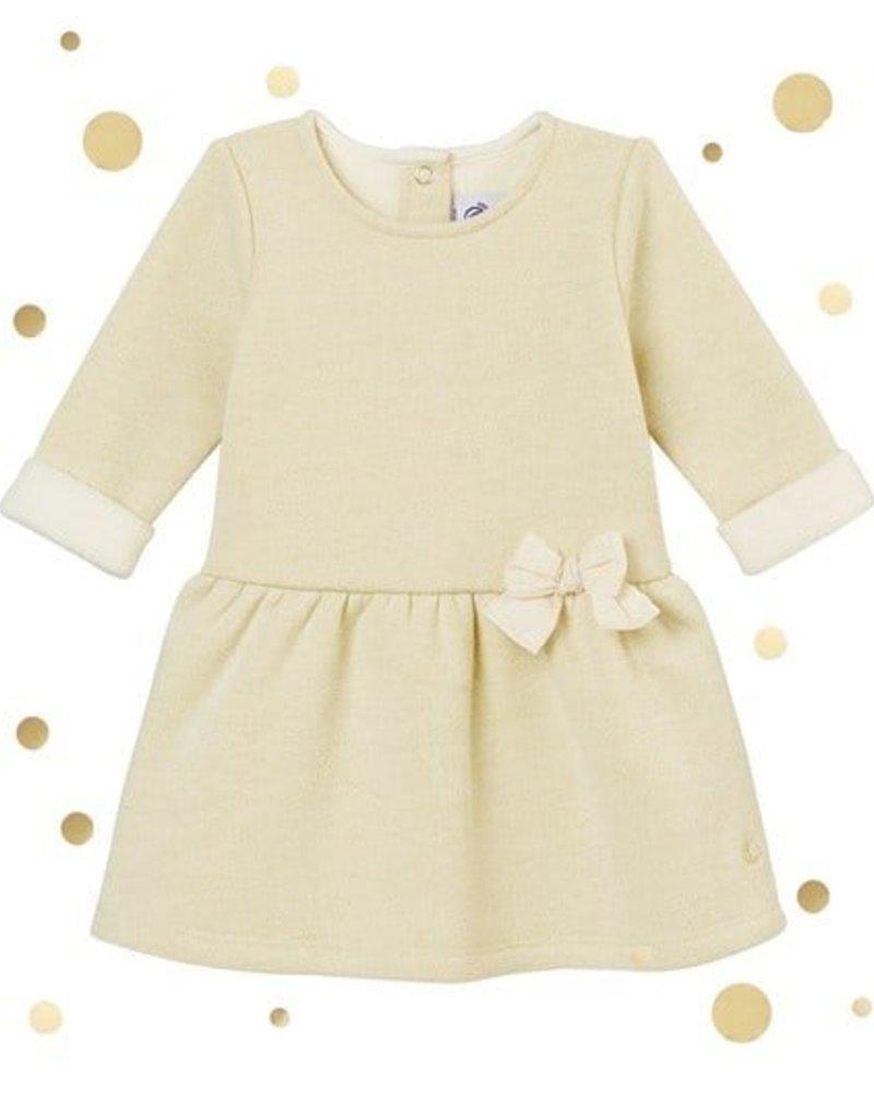 Petit Bateau glitterjurk in molton voor babymeisjes