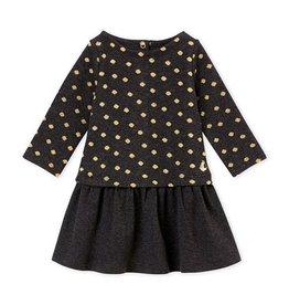 Petit Bateau jurk in 2 stoffen met goudkleurige stippen voor babymeisjes