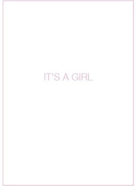 Uitgelijnd Letterpress kaart met enveloppe | it's a girl