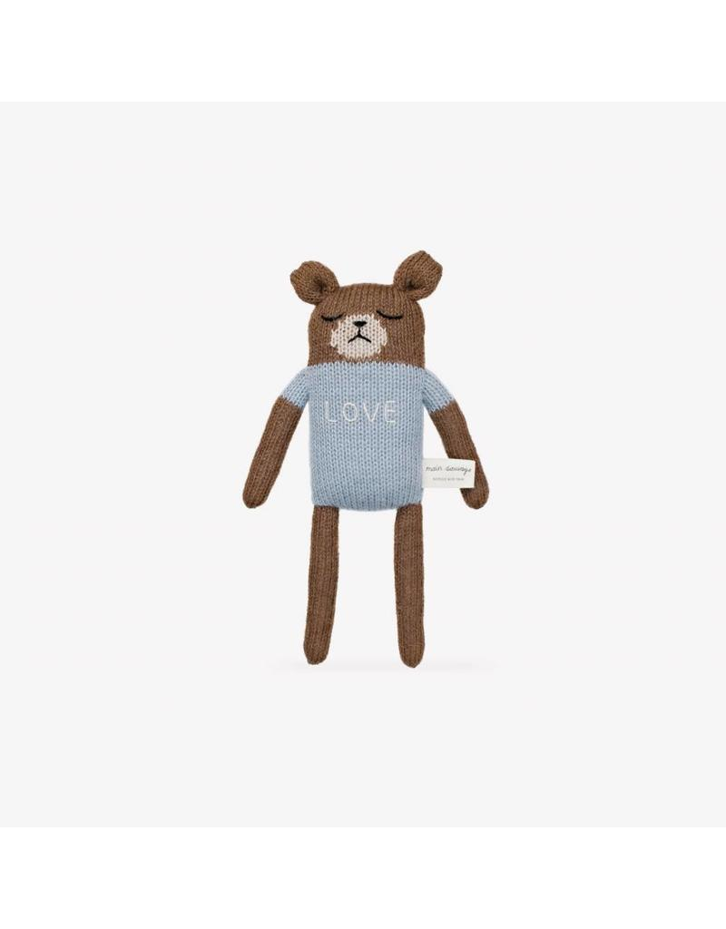"Main Sauvage Teddy soft toy ""love"", blue"