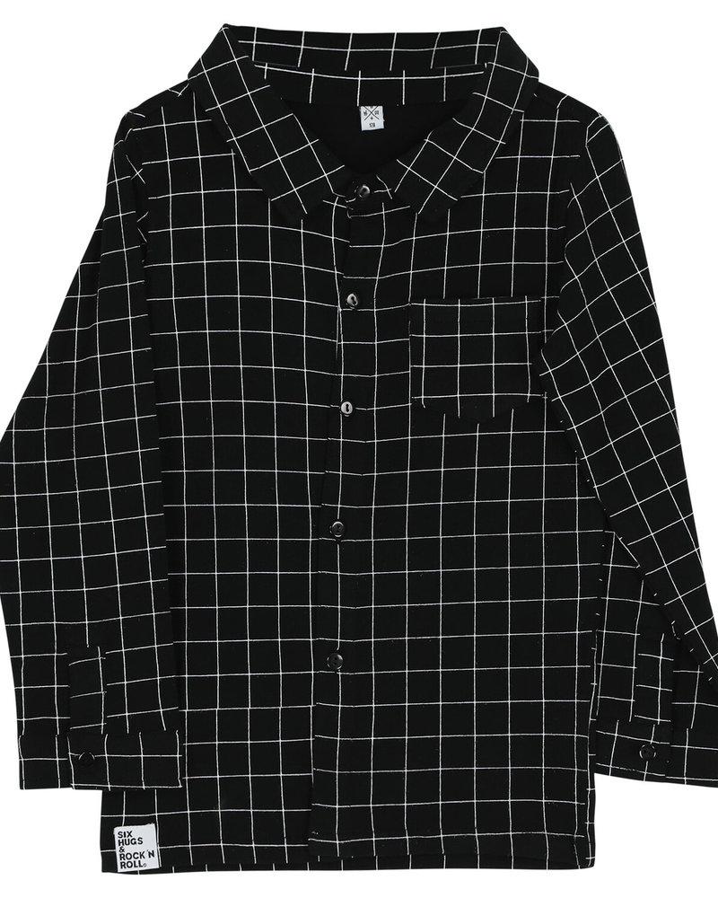 Six Hugs & Rock 'n Roll Button shirt black lines