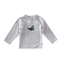Little Label Baby T-shirt | Grey mel black stripe seal