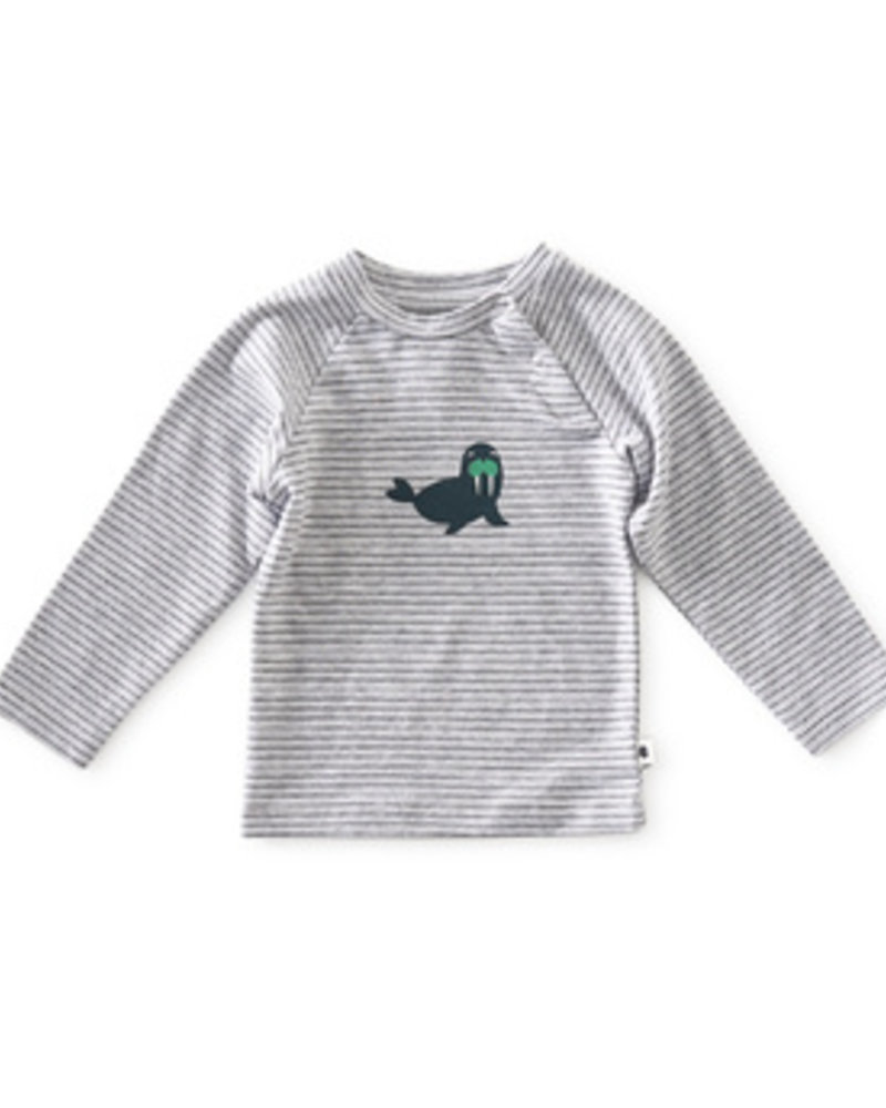 Little Label Baby T-shirt | Grey mel black stripe seal