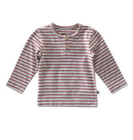 Little Label Henley | Grey mel orange red stripe