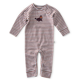 Little Label Babypakje | Grey mel orange red stripe