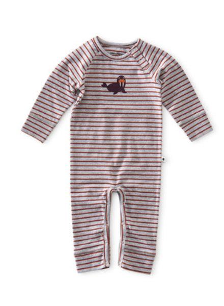 Little Label Babypakje | Grey mel orange red stripe