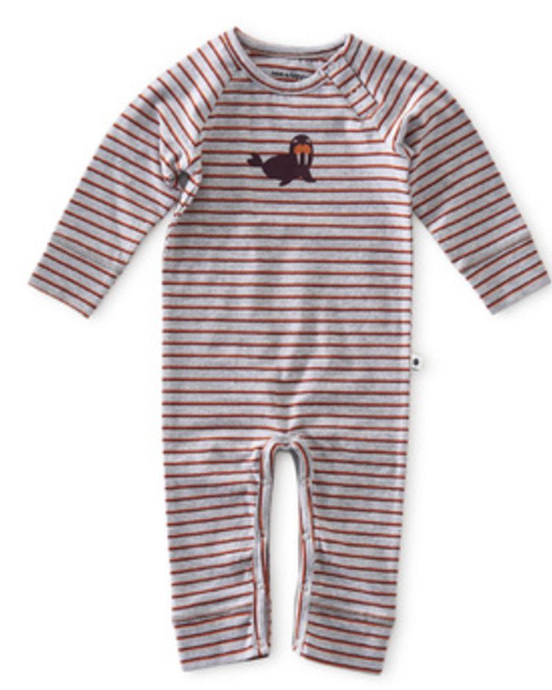 Little Label Babypakje   Grey mel orange red stripe