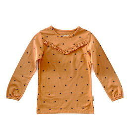 Little Label LS Ruffle | Pumpkin blue dots