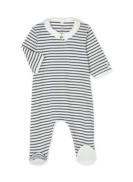 Petit Bateau Marinegestreepte pyjama met wit kraagje