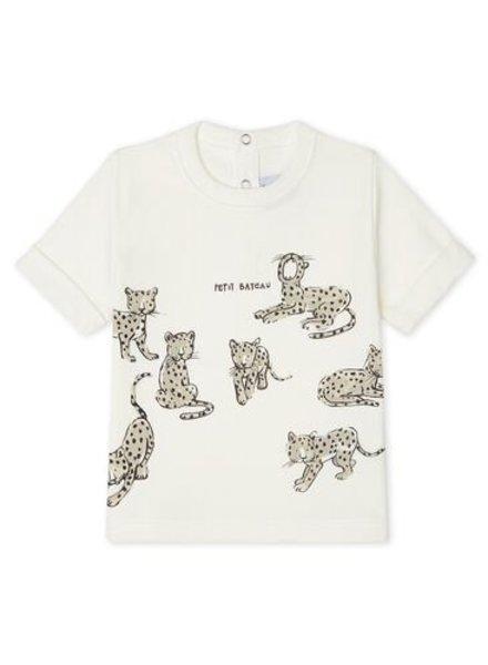Petit Bateau Wit baby T-shirt met cheetahs