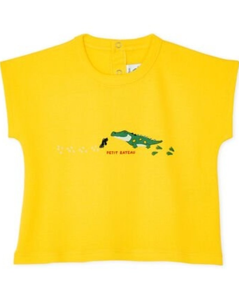 Petit Bateau Geel baby T-shirt met krokodil