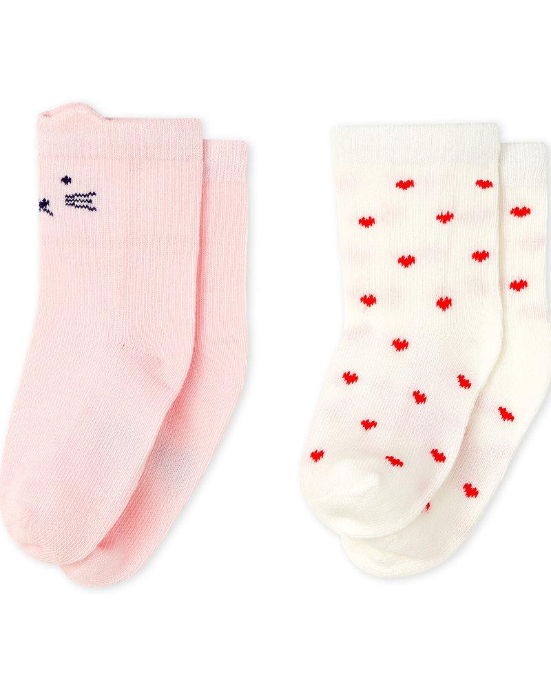 Petit Bateau 2 paar sokken   Hartje & snoetje
