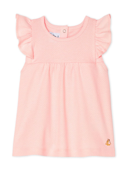 Petit Bateau Roze mouwloos baby T-shirt