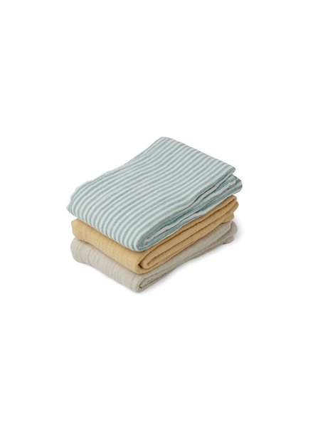 Liewood Line | Set van 3 tetradoeken | Sea blue stripe mix