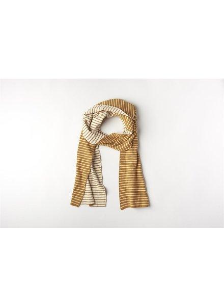 Mundo Melocotón Sjaal Organic Knitwear Stripes La Línea Cinnamon+Offwhite Mom