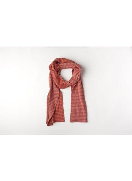 Mundo Melocotón Sjaal Organic Knitwear Stripes La Línea Blush+Chili Mom