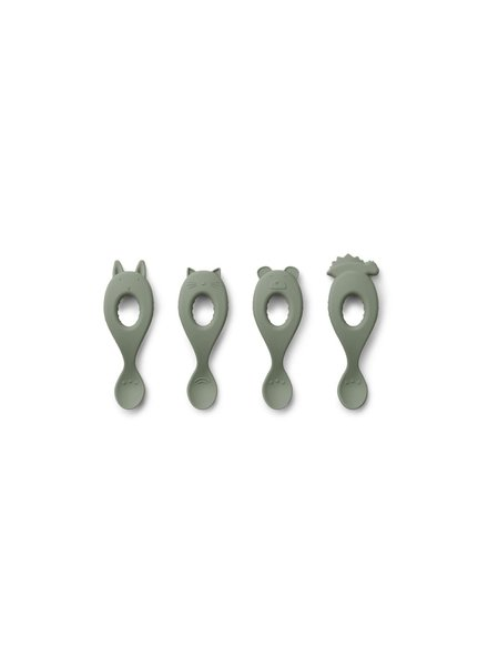 Liewood Liva set van 4 silicone lepels - Faune Green