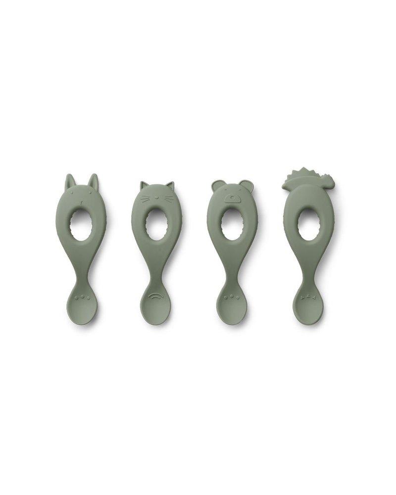 Liewood Liva set van 4 silicone lepels - Faune Green