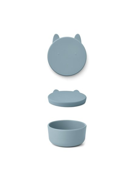 Liewood Charlot Snack Box |  Rabbit Sea Blue