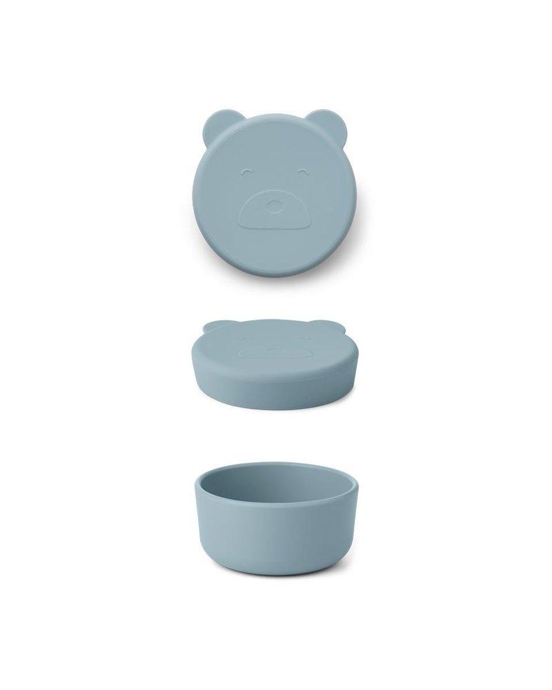 Liewood Carrie snackdoosje | Mr Bear Sea Blue
