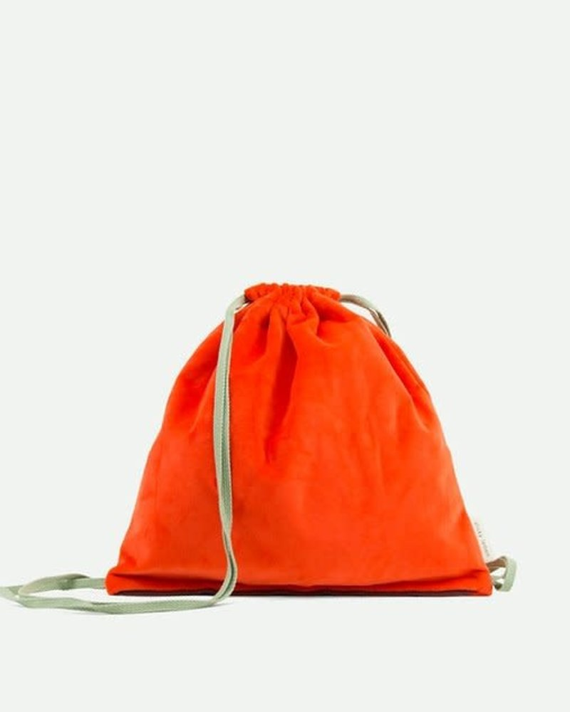 Sticky Lemon Drawstring bag + teddy sporty red + sage green + eggplant