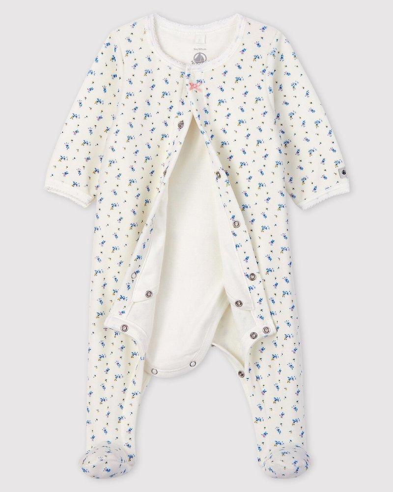 Petit Bateau Velours bodyjama met bloemenprint
