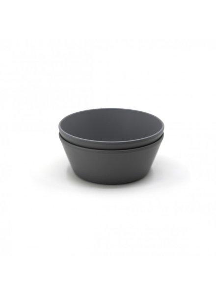 Mushie Set van 2 ronde bowls | Smoke
