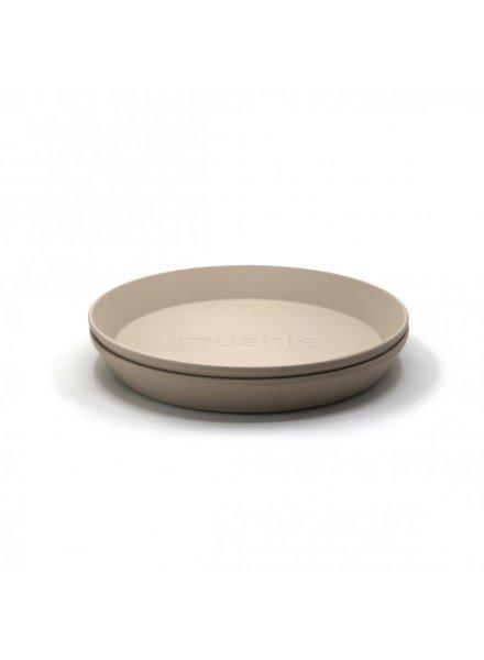 Mushie Set van 2 ronde borden   Vanilla