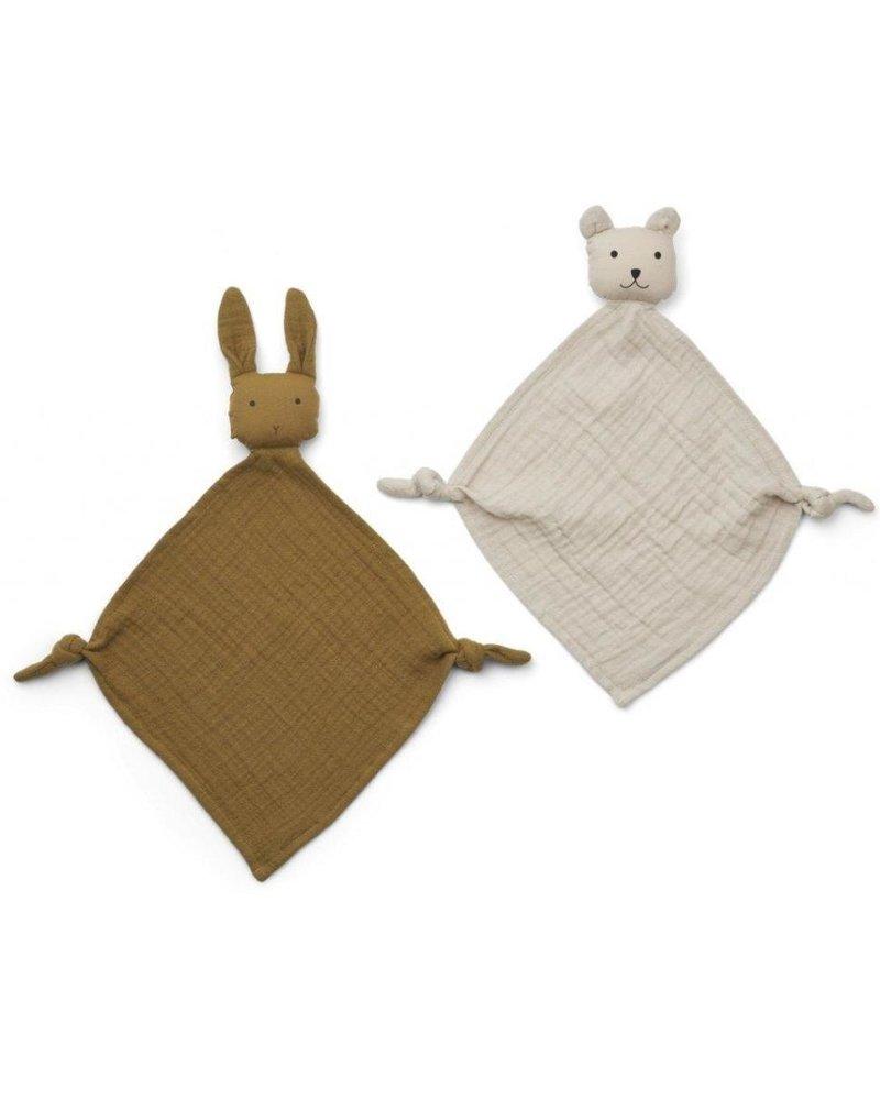 Liewood Yoko set van 2 mini knuffeldoekjes | Olive Green + Sandy