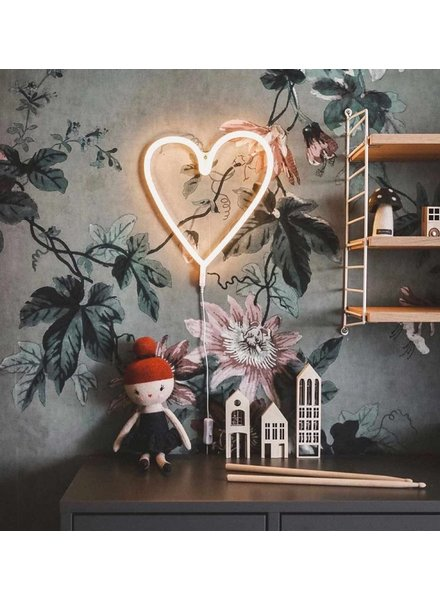 A Little Lovely Company Neon stijl lamp | Hart geel