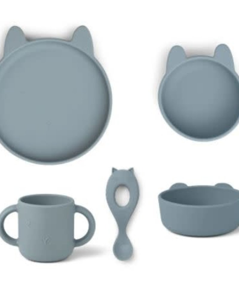 Liewood Vivi | Silicone eetset | Rabbit sea blue