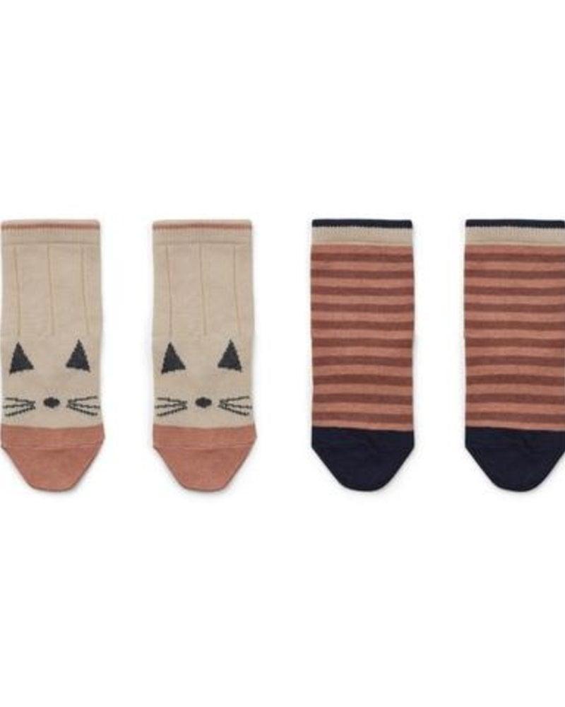 Liewood Silas | 2 paar sokken | Cat - stripe coral blush