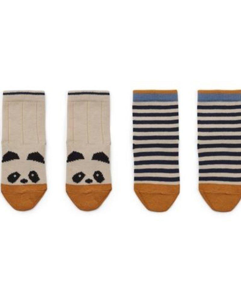 Liewood Silas | 2 paar sokken | Panda - stripe ecru