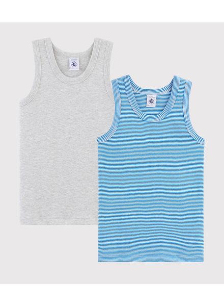 Petit Bateau Set van 2 onderhemdjes | Milleraies blauw + grijs