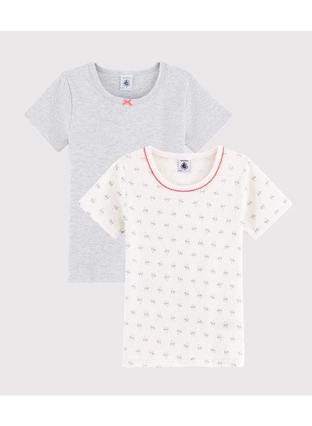Petit Bateau Set van 2 onderhemdjes met korte mouw | Kattenprint