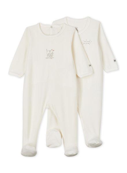 Petit Bateau Set van 2 witte velours pyjama's