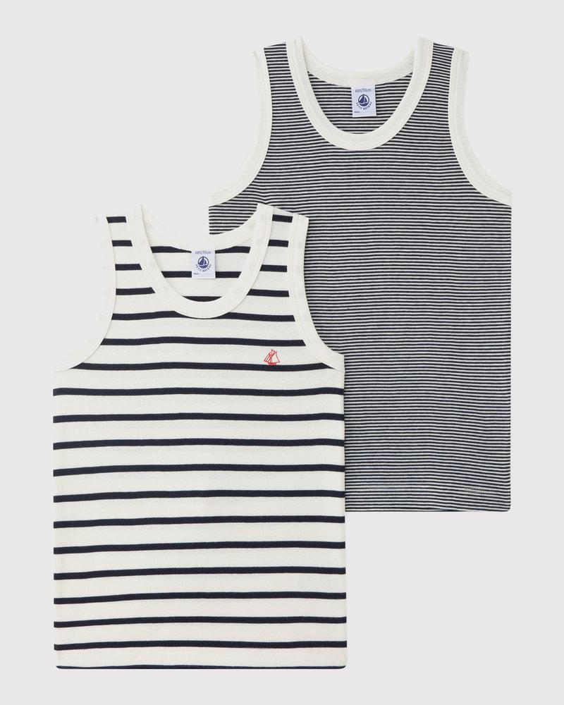Petit Bateau Set van 2 gestreepte onderhemdjes