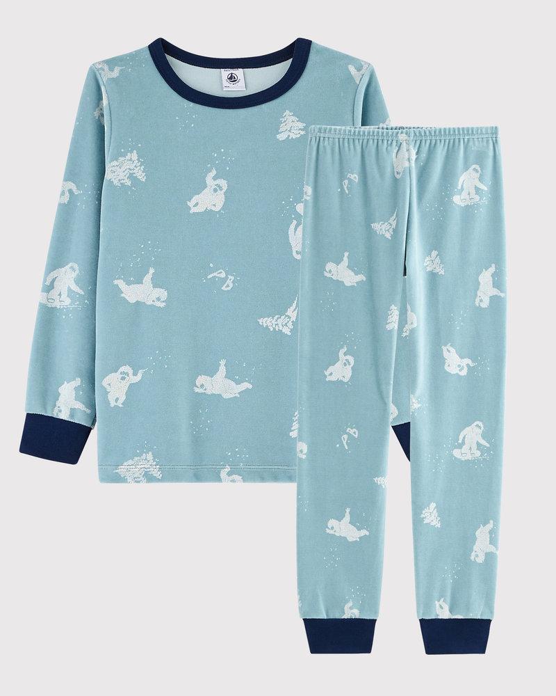 Petit Bateau Fluwelen pyjama met yetiprint