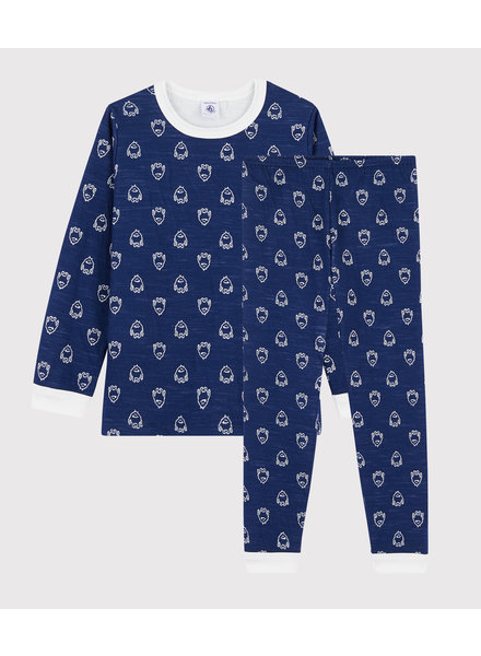 Petit Bateau Jacquard navy jongenspyjama met wol en katoen | Yeti