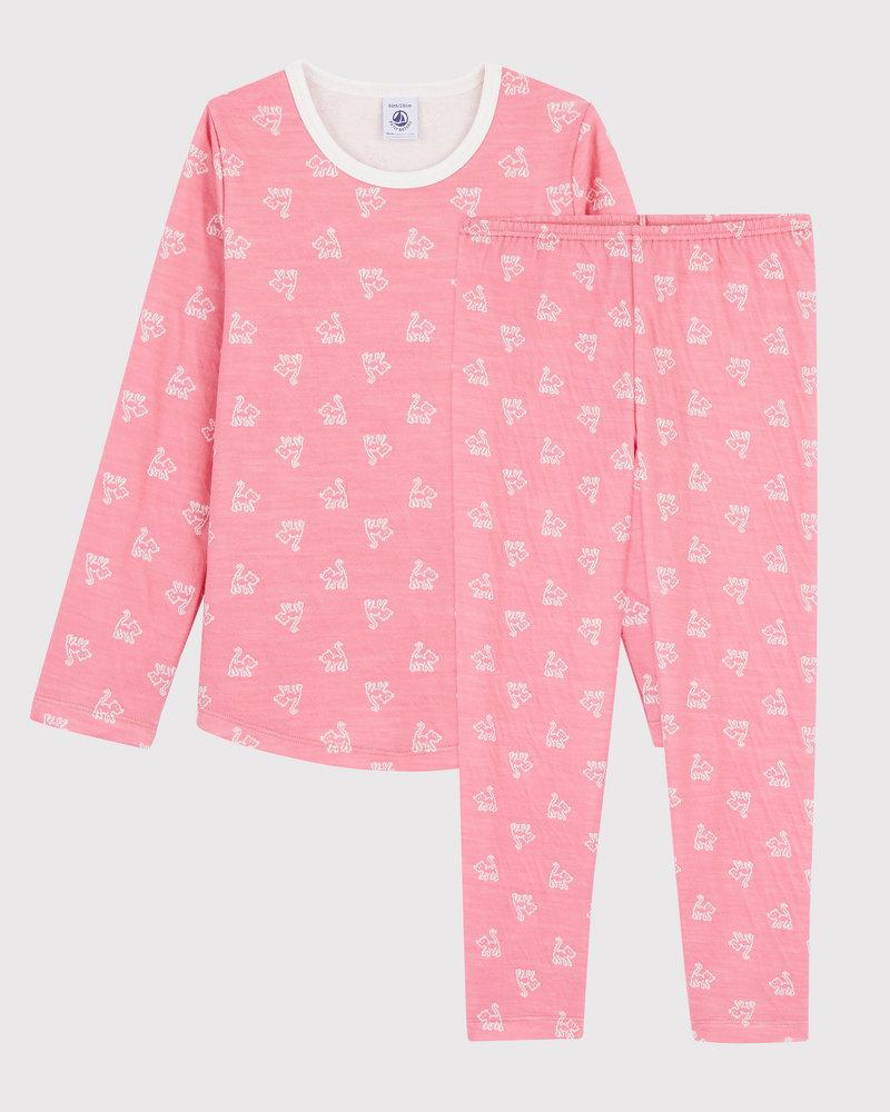 Petit Bateau Jacquard roze meisjespyjama met wol en katoen | Katten