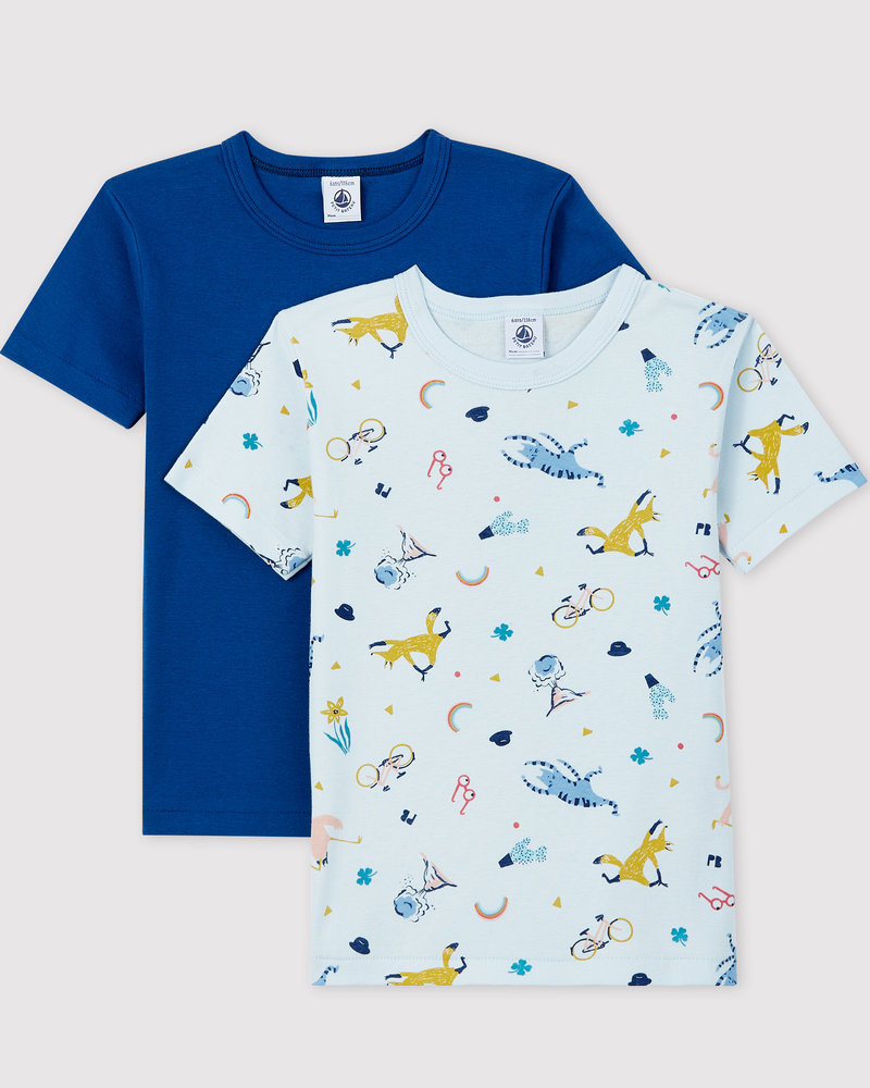 Petit Bateau Set van 2 onderhemdjes met korte mouw | Dieren en yoga
